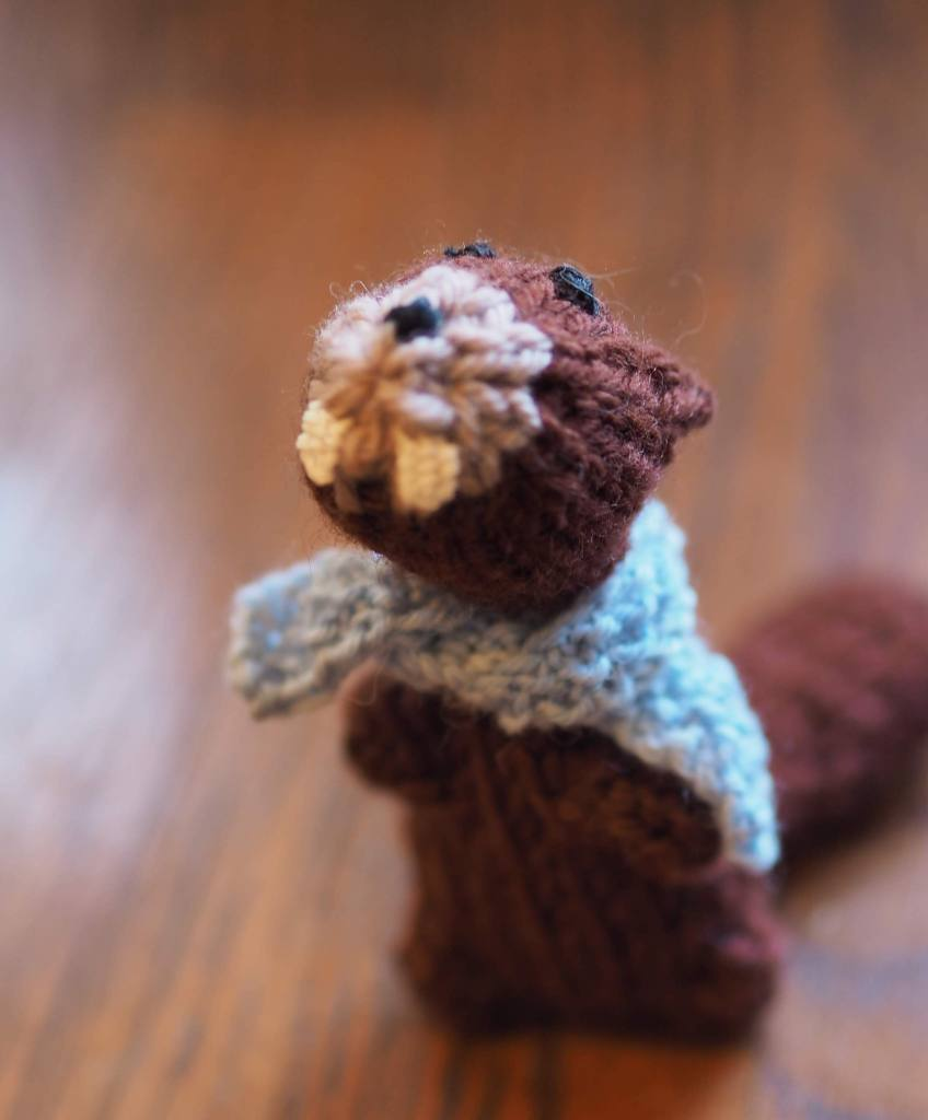 a knitted beaver in a blue scarf faces the camera